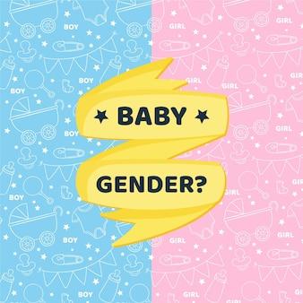 Hand getekend gender reveal concept geïllustreerd