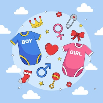 Hand getekend gender reveal party concept