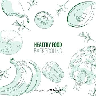 Hand getekend gezond voedsel achtergrond