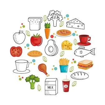 Hand getekend gezond voedsel op witte achtergrond. vector illustratie.