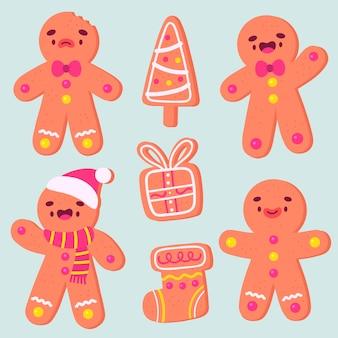 Hand getekend gingerbread man collectie