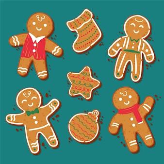 Hand getekend gingerbream man cookie-collectie