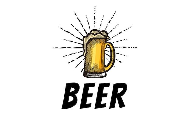 Hand getekend glas bier, ambachtelijk bier logo ontwerpen inspiratie geïsoleerd op witte achtergrond