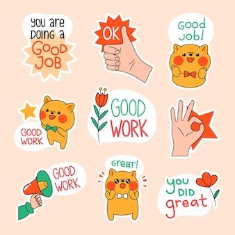 Hand getekend goed werk stickers collectie