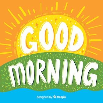Hand getekend goedemorgen belettering achtergrond