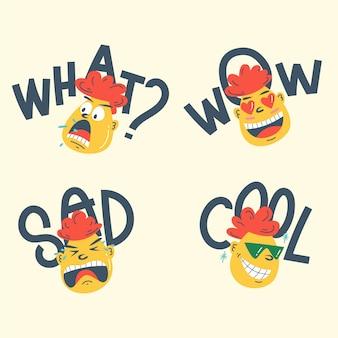 Hand getekend grappige gezichten sticker collectie