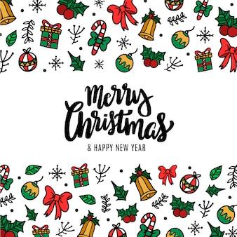 Hand getekend grappige kerst achtergrond