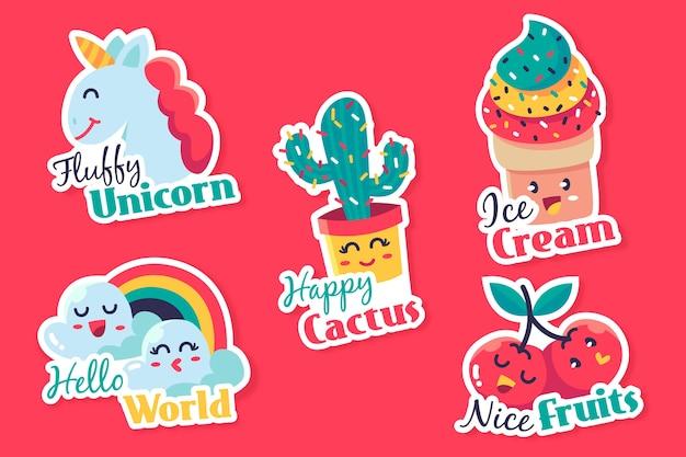 Hand getekend grappige sticker collectie