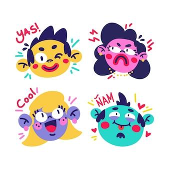 Hand getekend grappige stickers met gezichten set