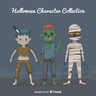 Hand getekend griezelig halloween karakter collectie