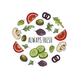 Hand getekend groenen banner vector ontwerp. geschetste groenten
