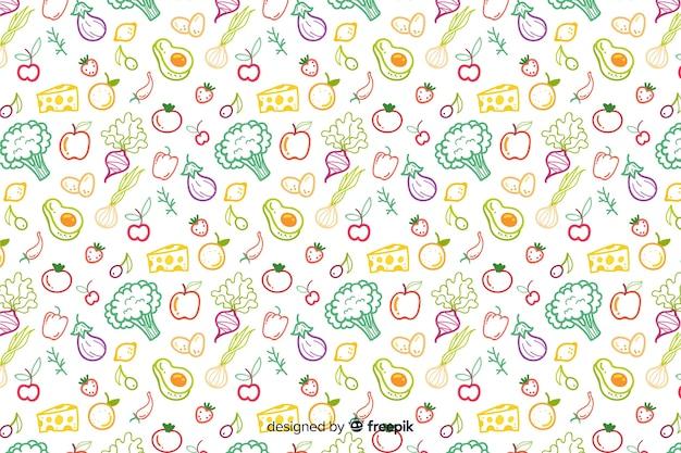 Hand getekend groenten en fruit patroon