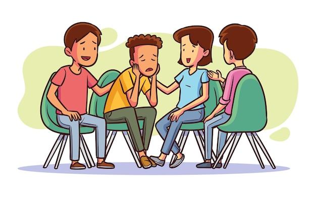 Hand getekend groepstherapie illustratie