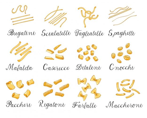 Hand getekend groot aantal verschillende soorten italiaanse pasta. vector illustratie, gekleurd.