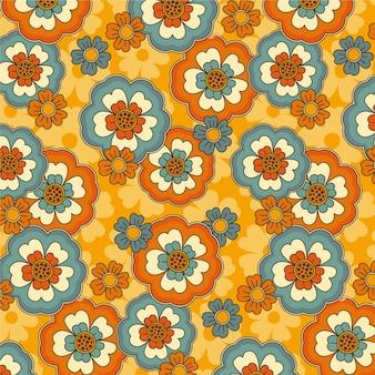 Hand getekend groovy patroon met bloemen
