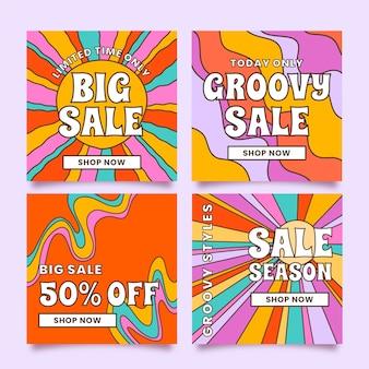 Hand getekend groovy verkoop instagram post collectie