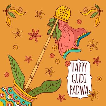 Hand getekend gudi padwa concept