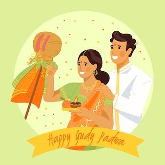 Hand getekend gudi padwa met paar