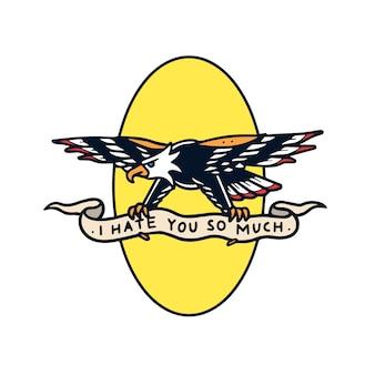 Hand getekend haat adelaar met banner old school tattoo illustratie