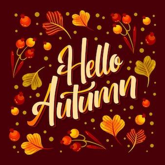 Hand getekend hallo herfst belettering
