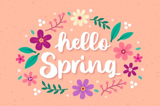 Hand getekend hallo lente achtergrond