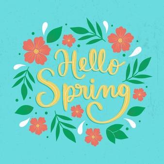 Hand getekend hallo lente belettering
