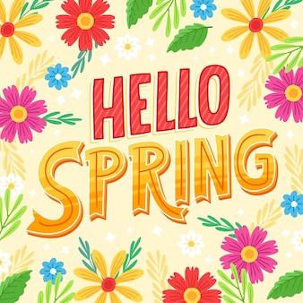 Hand getekend hallo lente