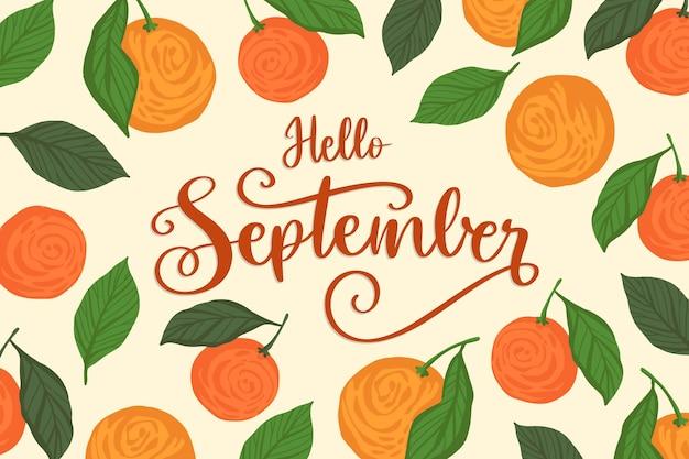 Hand getekend hallo september achtergrond