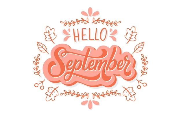 Hand getekend hallo september belettering