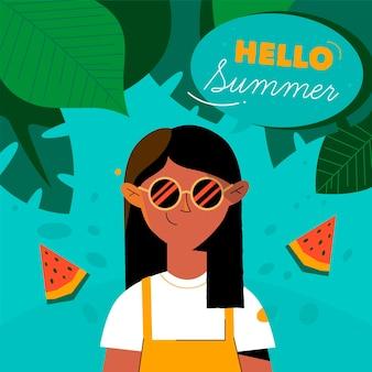 Hand getekend hallo zomer achtergrond met vrouw