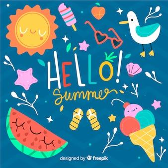 Hand getekend hallo zomer achtergrond