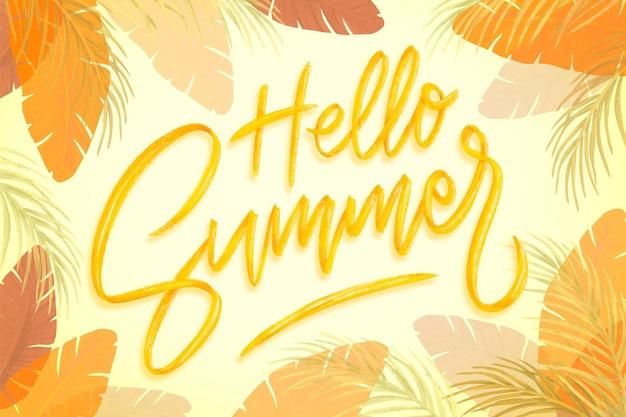 Hand getekend hallo zomer belettering