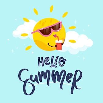 Hand getekend hallo zomer illustratie