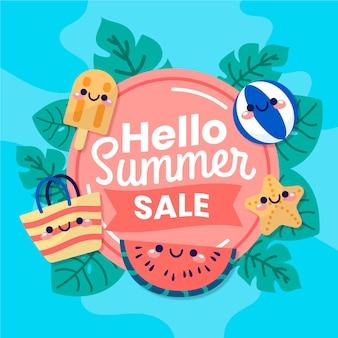 Hand getekend hallo zomer verkoop banner