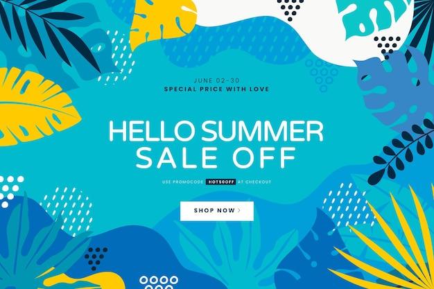 Hand getekend hallo zomer verkoop illustratie