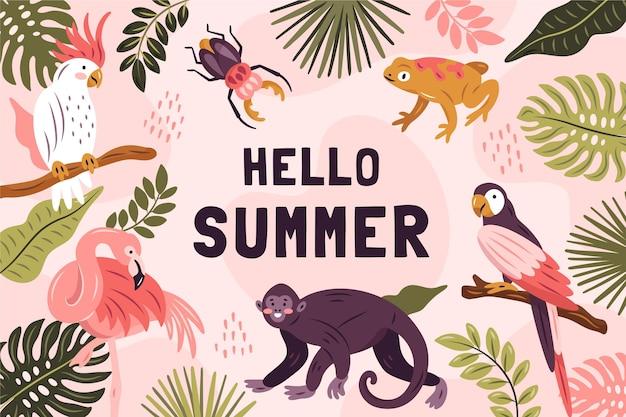 Hand getekend hallo zomer