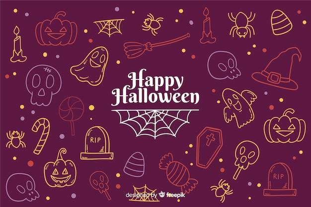 Hand getekend halloween achtergrond met doodles