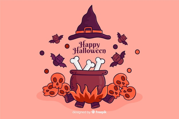 Hand getekend halloween achtergrond met heks elementen