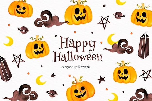 Hand getekend halloween achtergrond met pompoenen