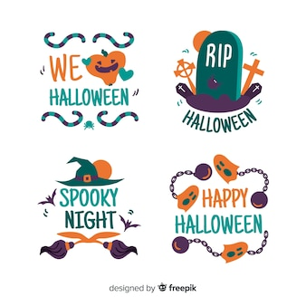 Hand getekend halloween badges pack