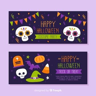 Hand getekend halloween banners met schedels