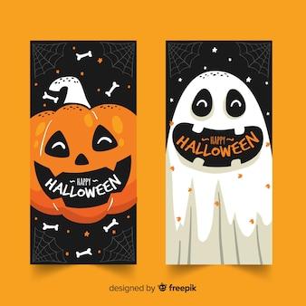 Hand getekend halloween banners pompoen en geest