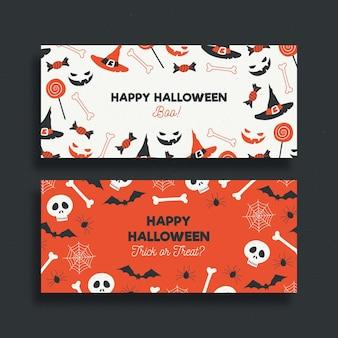 Hand getekend halloween banners sjabloon