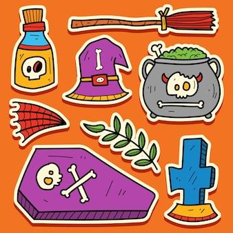 Hand getekend halloween cartoon doodle sticker ontwerp