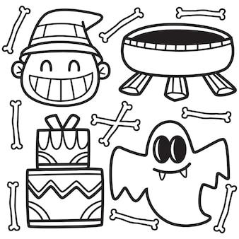 Hand getekend halloween doodle illustratie