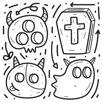 Hand getekend halloween doodle ontwerp illustratie