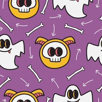 Hand getekend halloween doodle patroon ontwerp illustratie