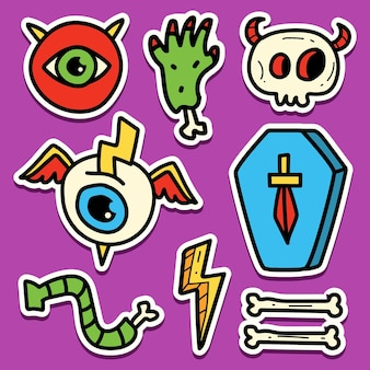 Hand getekend halloween doodle sticker ontwerp
