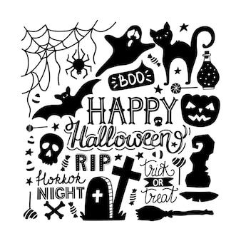 Hand getekend halloween doodles print met belettering.