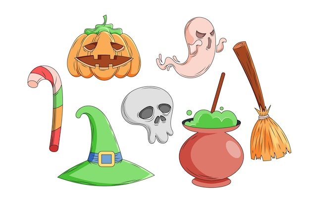 Hand getekend halloween element collectie